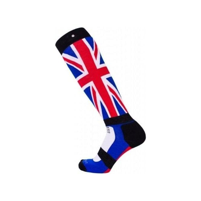 LCF Unisex Technical Ski Socks With Merino Wool - UNION JACK FLAG Patterned