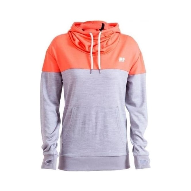 Mons Royale Wmns Merino Switch Pullover Hoody - Coral / Grey Marl