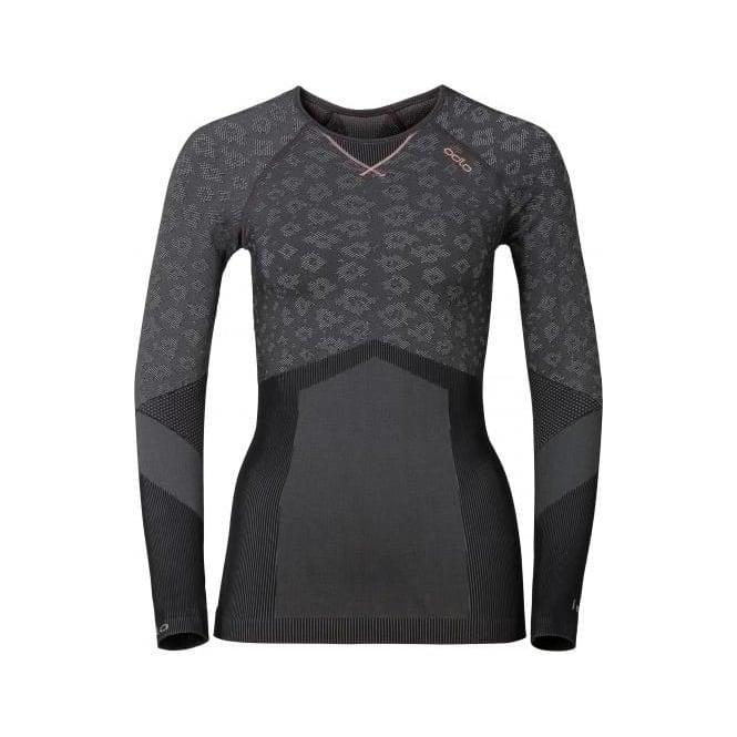 Odlo Wmns Blackcomb Evolution Warm Baselayer Shirt - Concrete Grey/Black/Fleur De Lotus