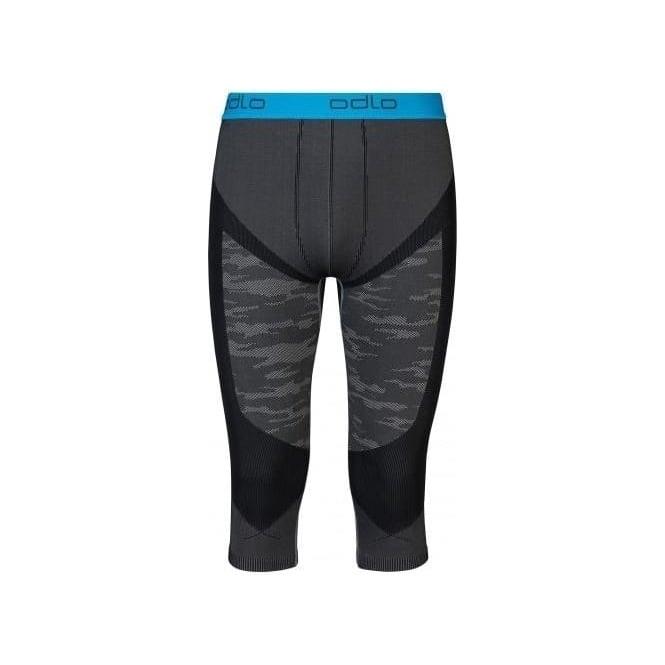 Odlo Mens Blackcomb Evolution Warm 3/4 Baselayer Pants - Concrete Grey/Black