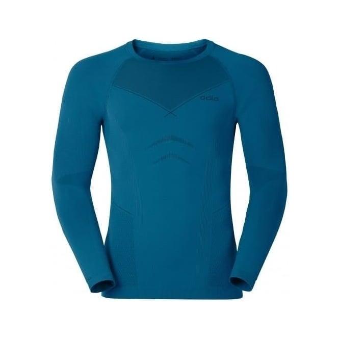 Odlo Mens Evolution Warm L/s Baselayer Shirt - Seaport Blue /Black