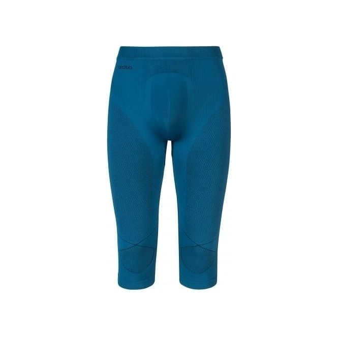 Odlo Mens Evolution Warm 3/4 Baselayer Pants - Seaport Blue/Black