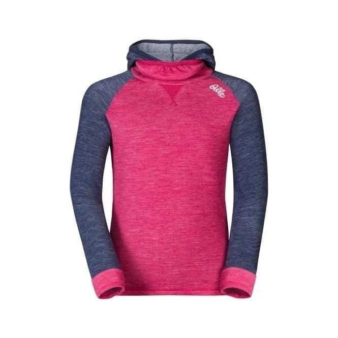 Odlo Junior Revolution Warm Baselayer Shirt with Facemask - Sangria Pink/Navy New Melange