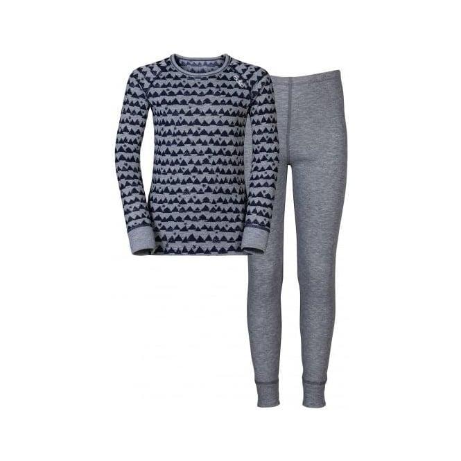 Odlo Warm Kids Thermal Longjohns and Vest Set - Peacoat/Grey Melange/Allover Print