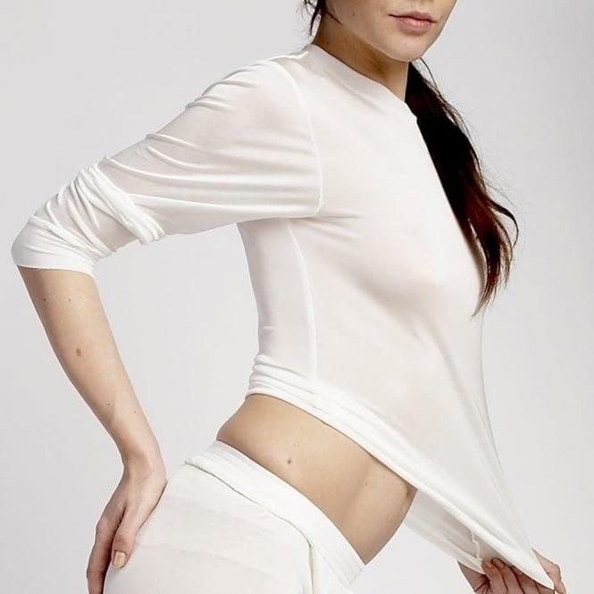 Steiner Wmns Thaw Silk Long Sleeve Vest - Ivory