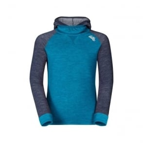 Junior Revolution Warm Baselayer Shirt with Facemask - Blue Jewel/Navy New Melange