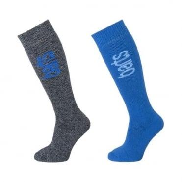 Junior Basic Socks 2 PR - Anthracite/Blue