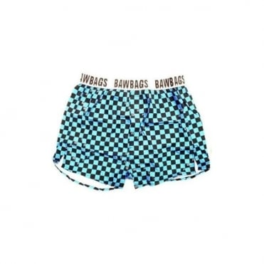 Blue Square Loose Fit Boxer Shorts
