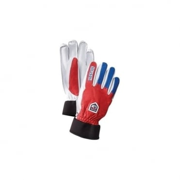 Alpine Pro Army Leather Wool Terry Glove - Red / Royal Blue