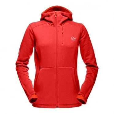 Wmns Narvik Warm2 Stretch Zip Hood - Red