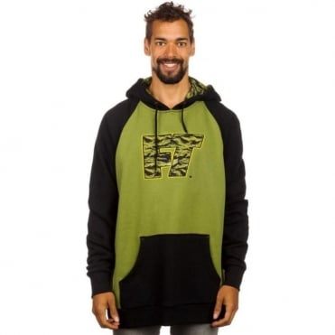 Mens Pull Over Hoodie - Black/Green