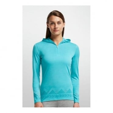 Wmns Base Layer Oasis L/s Half Zip Hood - Blue