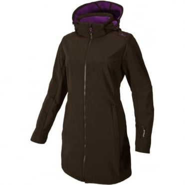 Wmns Softshell Coat Zip Hood - Brown