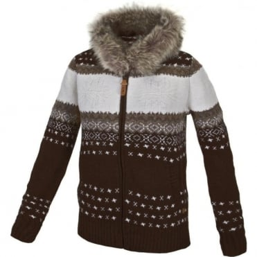 Wmns Knit Hood Fz - Brown