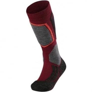 Junior Sk2 Ski Socks - Plum Red