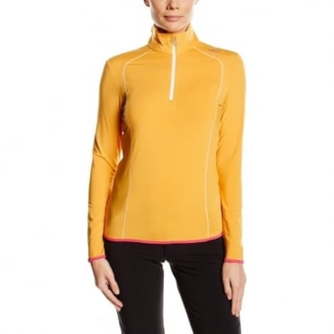 Womens Mid Layer Half Zip - Contrast Apricot