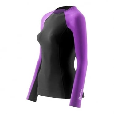 Wmns A200 Thermal Long Sleeve Round Neck - Black/Purple