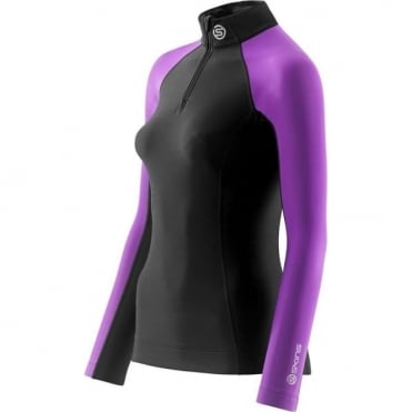 Wmns A200 Thermal Long Sleeve With Zip - Black/Purple