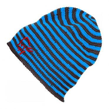 Crochet Striped Beanie - Electric Blue / Brown