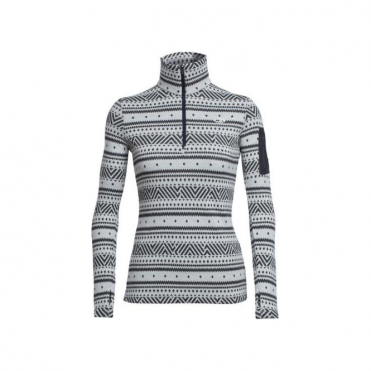 Wmns Vertex Long Sleeve Half Zip Icon Fairisle - Snow White/Grey