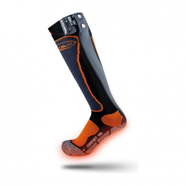 Powersocks Uni Heat Heated Ski Socks - Orange/Gray/Black