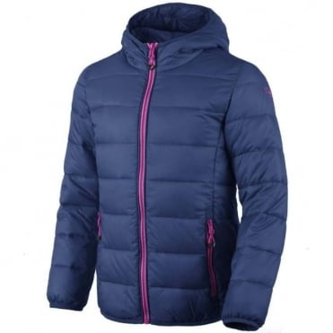CMP Junior Girls Insulated Puffa Jacket - Nautico Blue with Pink Detailing