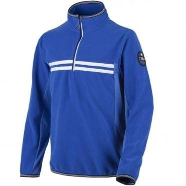 Junior Boys Fleece 1/2 Zip Midlayer Sweat - Stripe/Navy Blue