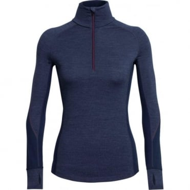 Wmns BodyfitZONE Winter Zone Long Sleeve Half Zip - Fathom Heather Blue