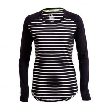 Wmns Merino Rocker Raglan LS - Stripes / Black
