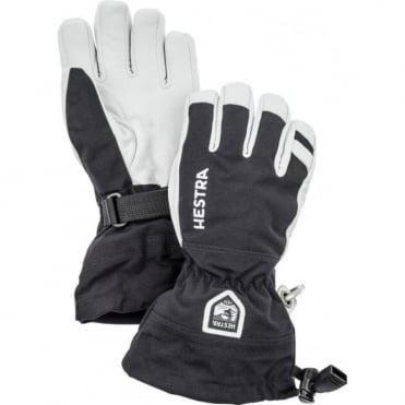 Junior Army Leather Heli Ski Gloves - Black