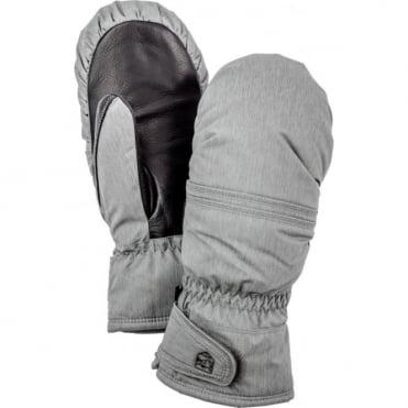 Primaloft Leather Female Mittens - Grey