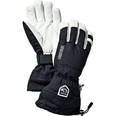 Mens Alpine Pro Army Leather Heli Ski Glove - Black/White