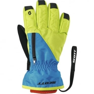 Junior Ultimate Premium Gloves - Lime Green/Cyan Blue