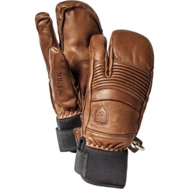 Leather Fall Line 3 Finger Mittens - Brown