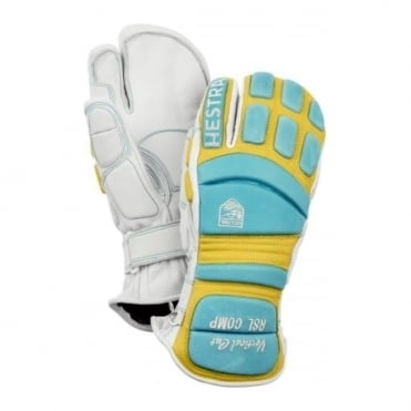 RSL Comp Vertical Cut 3-Finger Race Gloves - Blue/Yellow