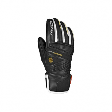 Lindsey Race Gloves - Black/White/Gold
