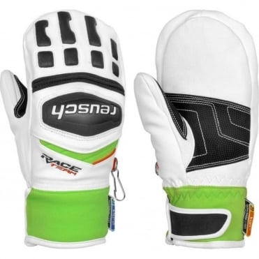 Junior GS Race Mittens - White/Green