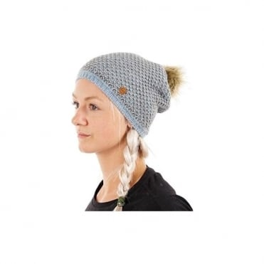 Knitted Hat With Eco Fur Pom - Blue
