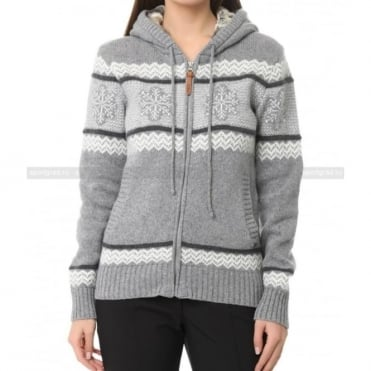 Wmns Knit Full Zip Jumper Fur Lined Hood - Grey