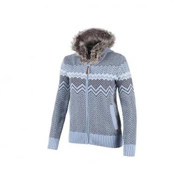 Wmns Knit Full Zip Jumper Fur Trimmed Hood - Blue