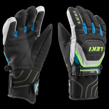 World Cup Race Race Coach Flex S GTX Junior Ski Race Gloves Black/Cyan Blue
