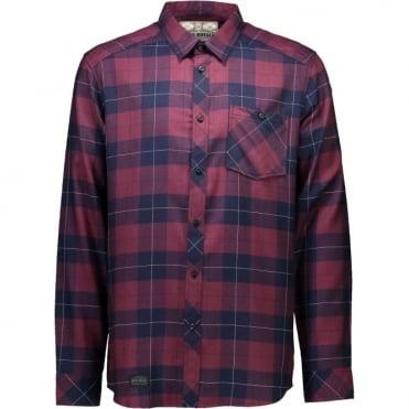 Mons Royale Jackson Flannel Shirt - Navy/Burgundy
