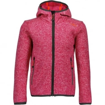 Campagnolo Girl's Fixed Hood Fleece - Magenta/Anthracite