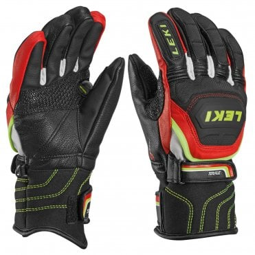 34328298942958 Leki World Cup Race Flex S Junior Ski Gloves - Black/Red
