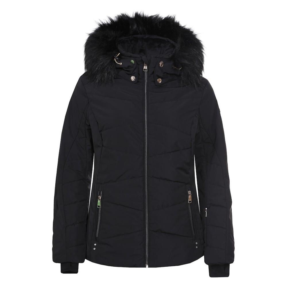 Luhta Women s Tech Jacket With Faux Fur - Black - Ski Clothing ... 056b4efbb