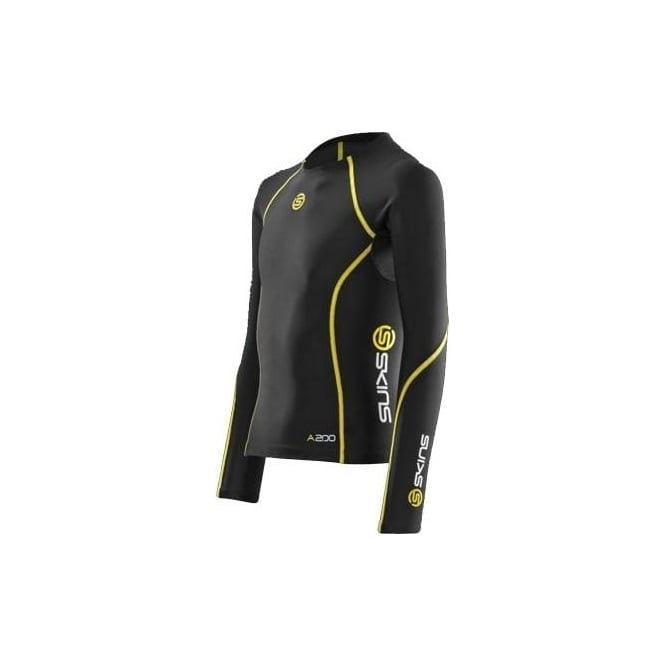 Skins Junior Bio A200 Long Sleeve Top - Black/Yellow