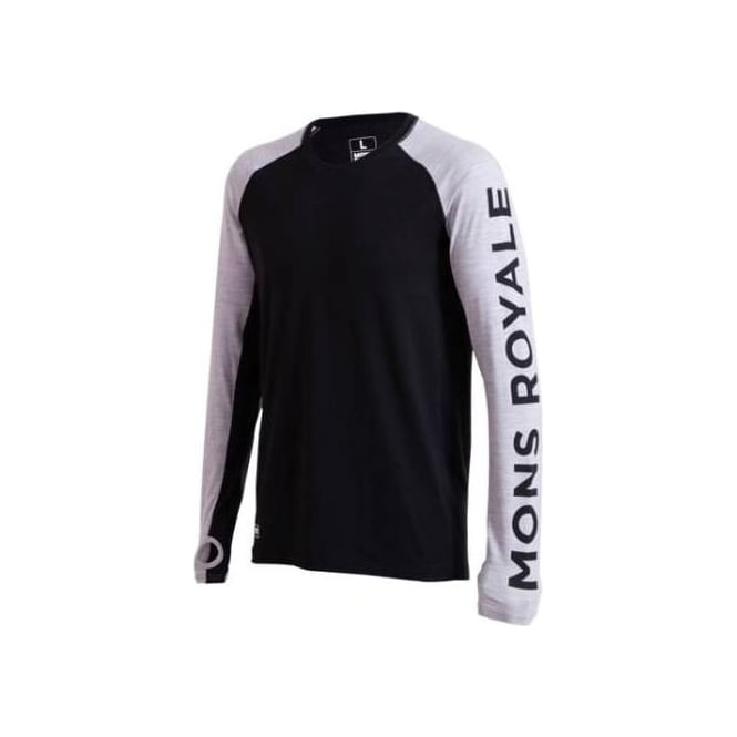Mons Royale Men's Merino Temple Tech LS - Black/Grey