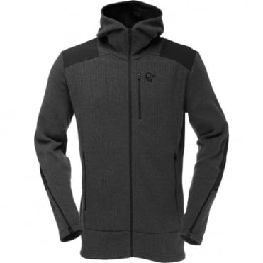 Mens Tamok Warm/wool2 Zip Hood - Charcoal Melange