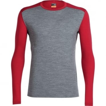 Men's Oasis Long Sleeve Crewe - Gritstone Heather/ Oxblood