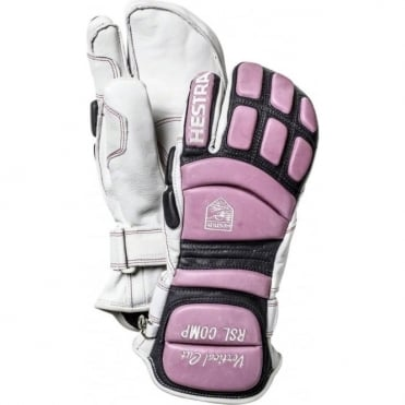 RSL Comp Vertical Cut 3-Finger Race Gloves - White/Pink